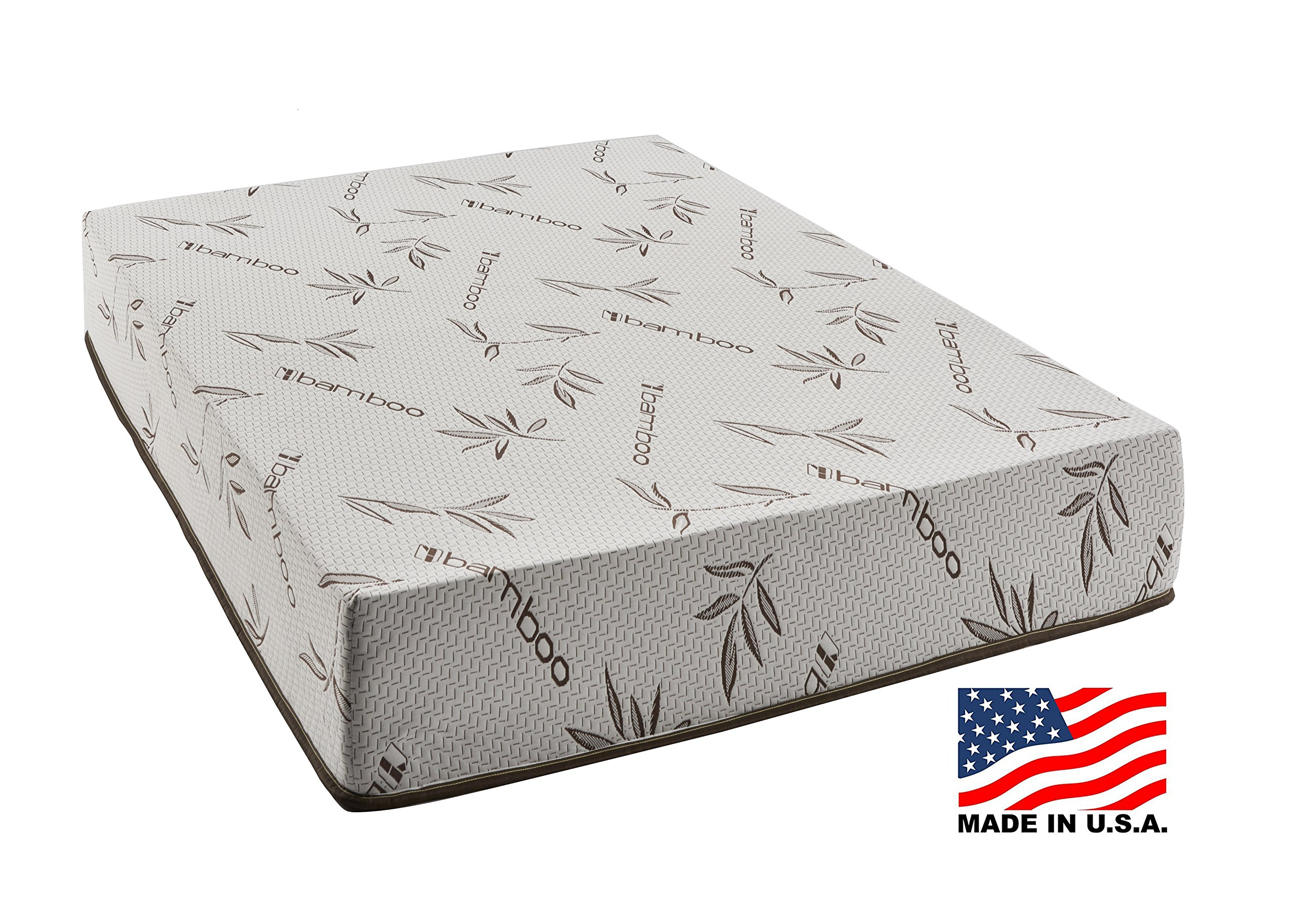 Customize Bed 10 Inch Gel Memory Foam Mattress with Bamboo Cover, Cot size 33x74 for RV, Cot, Folding, Guest & Day Bed-- CertiPUR-US Certified