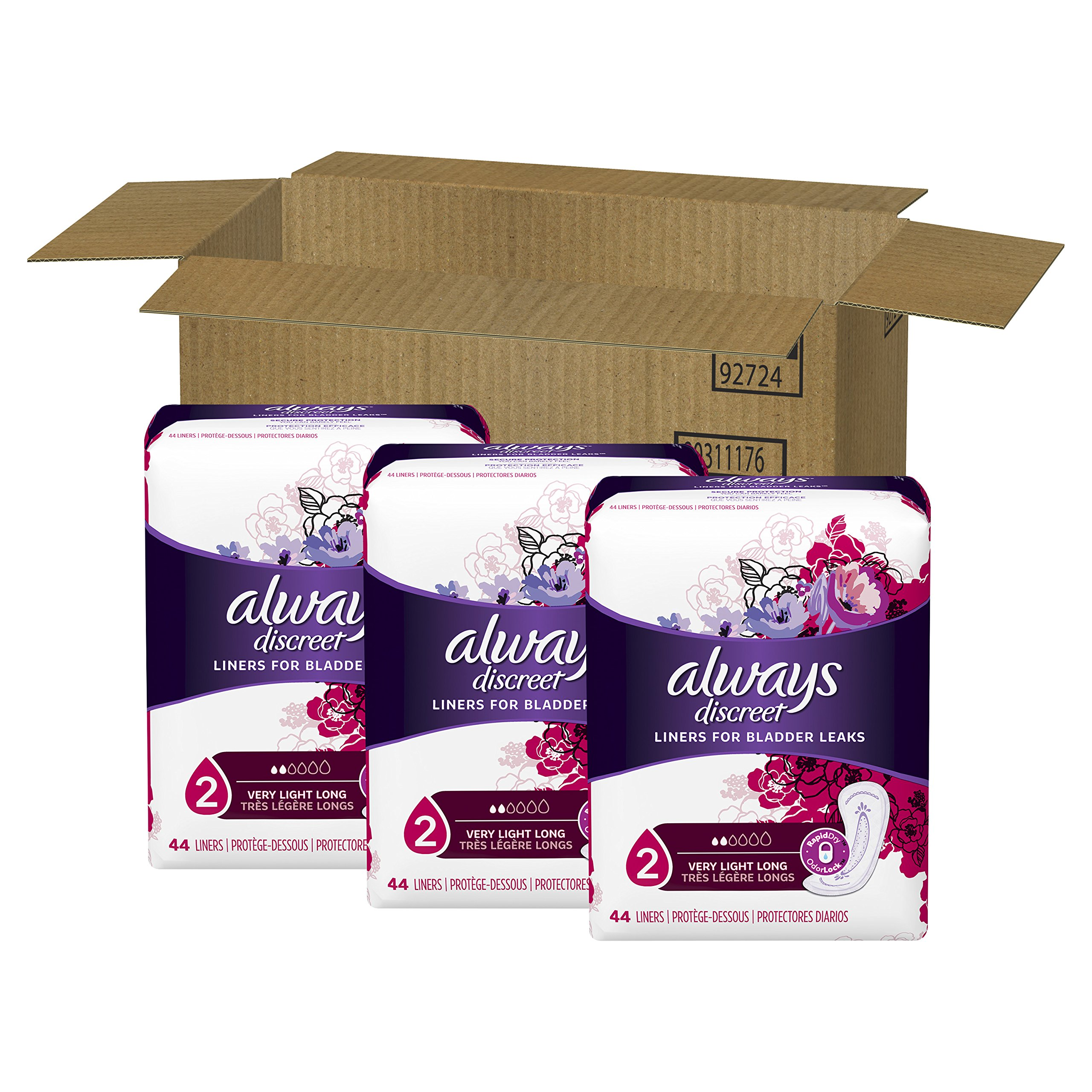 Always Discreet, Incontinence Liners, Very Light, Long Length, 44 Count - Pack of 3 (132 Total Count) by Always Discreet (Image #3)