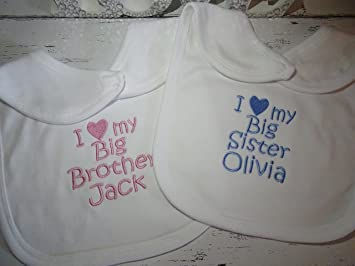 2 personalised baby bibs If you think i/'m cute /& I love my big brother sister