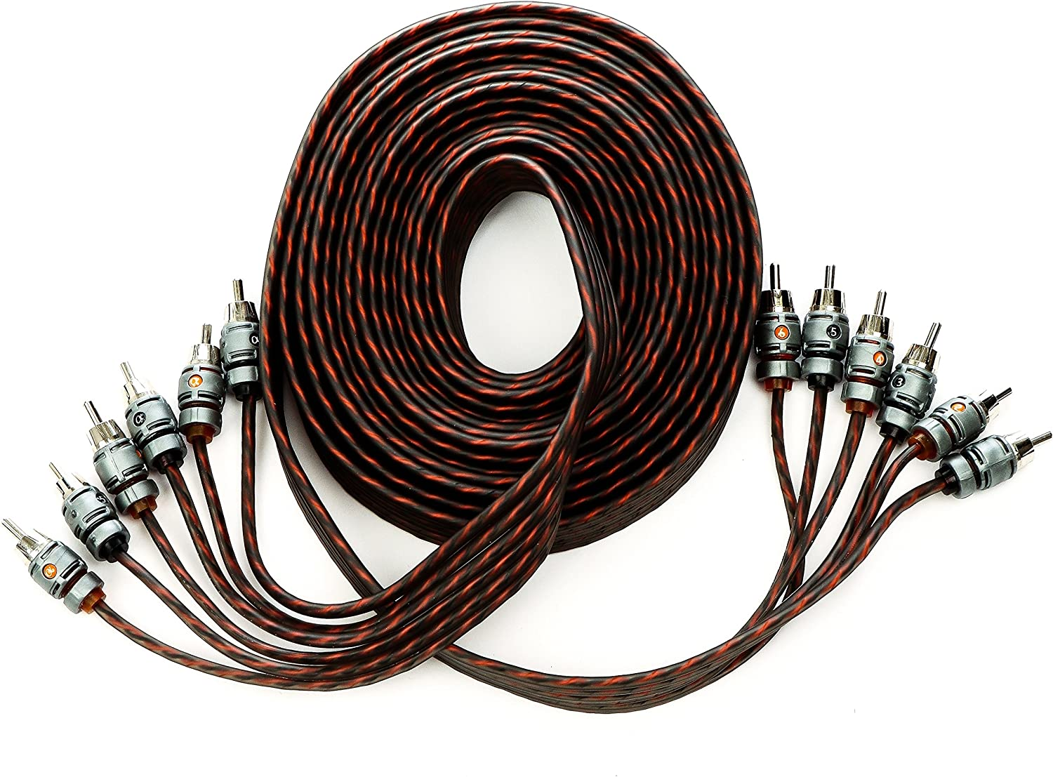 Alphasonik 17 Feet Premium 6 Channel Hyper-Flex RCA Interconnect Signal Patch Audio Cable with X-Radial Twist Wire Technology 100% Oxygen Free Copper Element Certified Multiple Applications FLEX-R66 91QGGTyEeWL