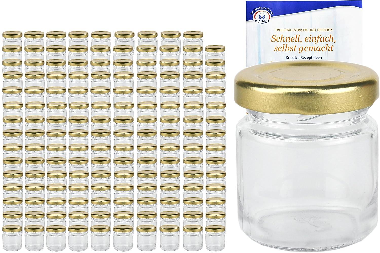 200er Set contenitori rotondi 53/ML colore oro to 43/con diamante gelier zauber ricettario Mini Vasetti Occhiali frutta Occhiali barattoli di conserva Barattolo Occhiali Portion Occhiali