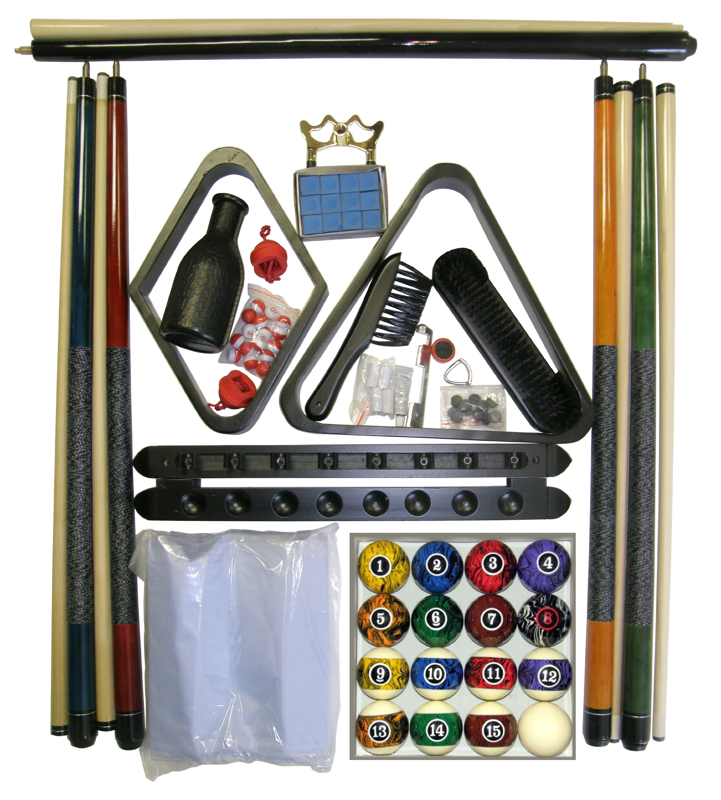 Black Finish Billiard Pool Table Accessory Kit W Dark Marble Style Ball Set