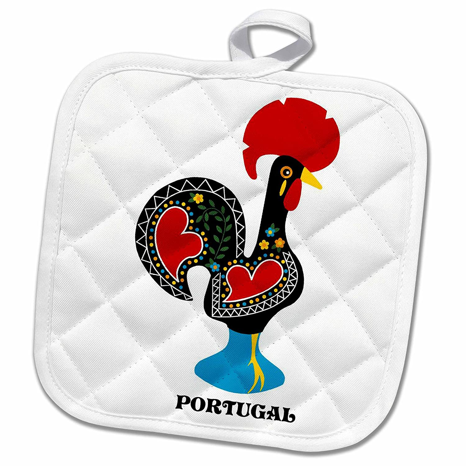 3d Rose The Black Portuguese Rooster On A Blue Background With A Heart Pot Holder 8 X 8 Multiple Color