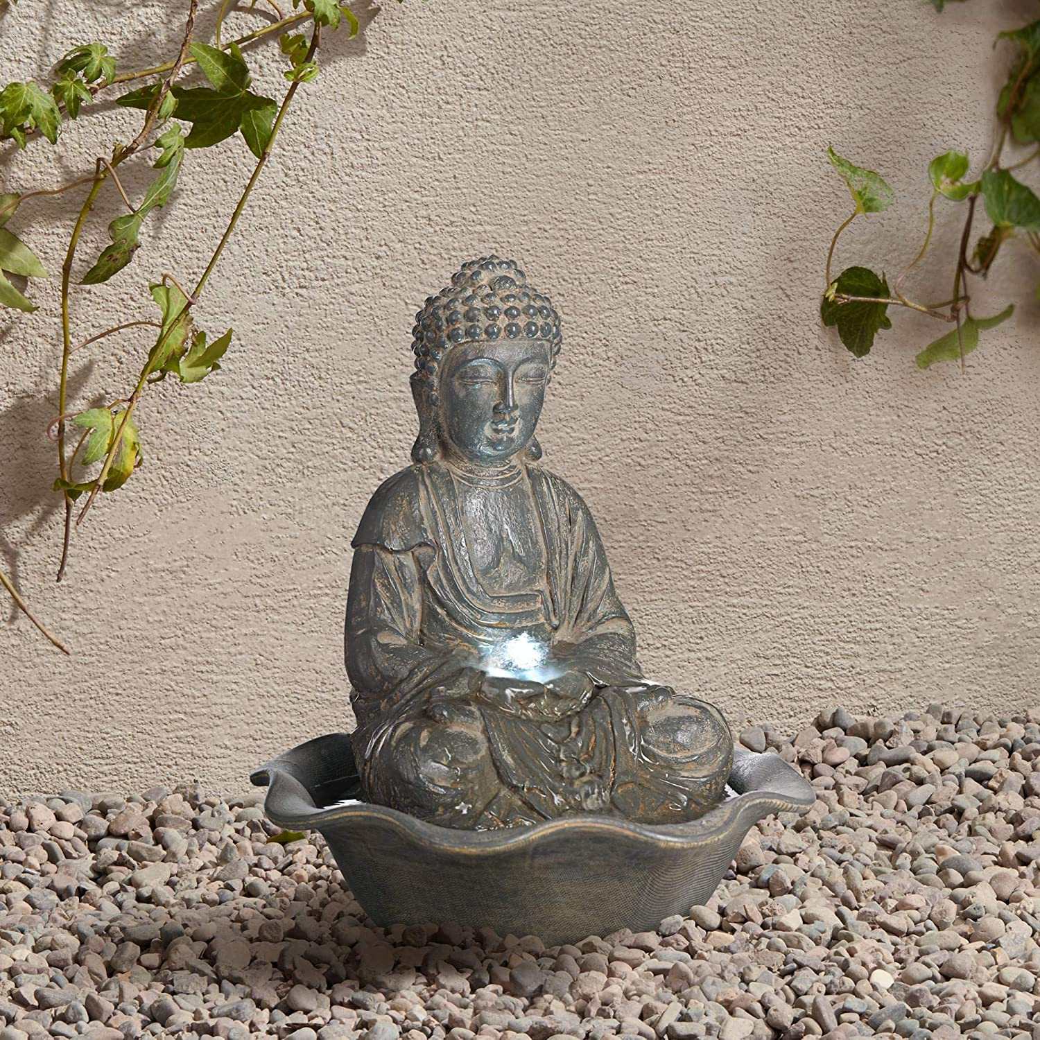 "Universal Lighting and Decor Asian Zen Buddha Outdoor Water Fountain with Light LED 12"" High Sitting for Table Desk Yard Garden Patio Home Relaxation - John Timberland"