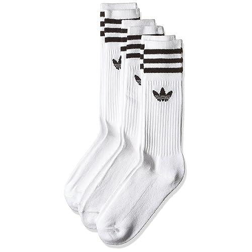 Adidas Solid Crew, Calcetines Unisex Adulto, blanco / negro, 39/42,