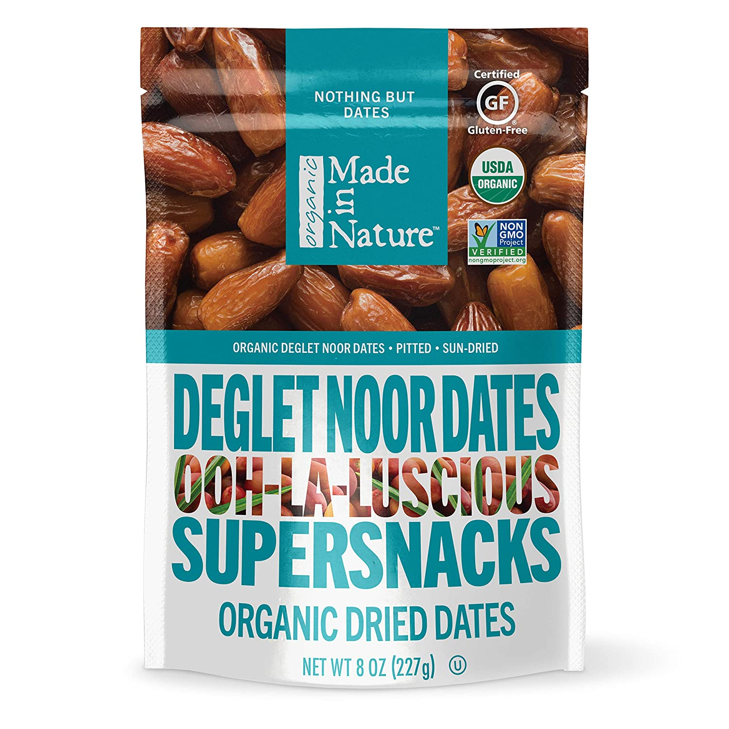 Made In Nature Organic Dried Dates, 6 oz (Pack of 6) - Non-GMO Vegan Dried Fruit Snack