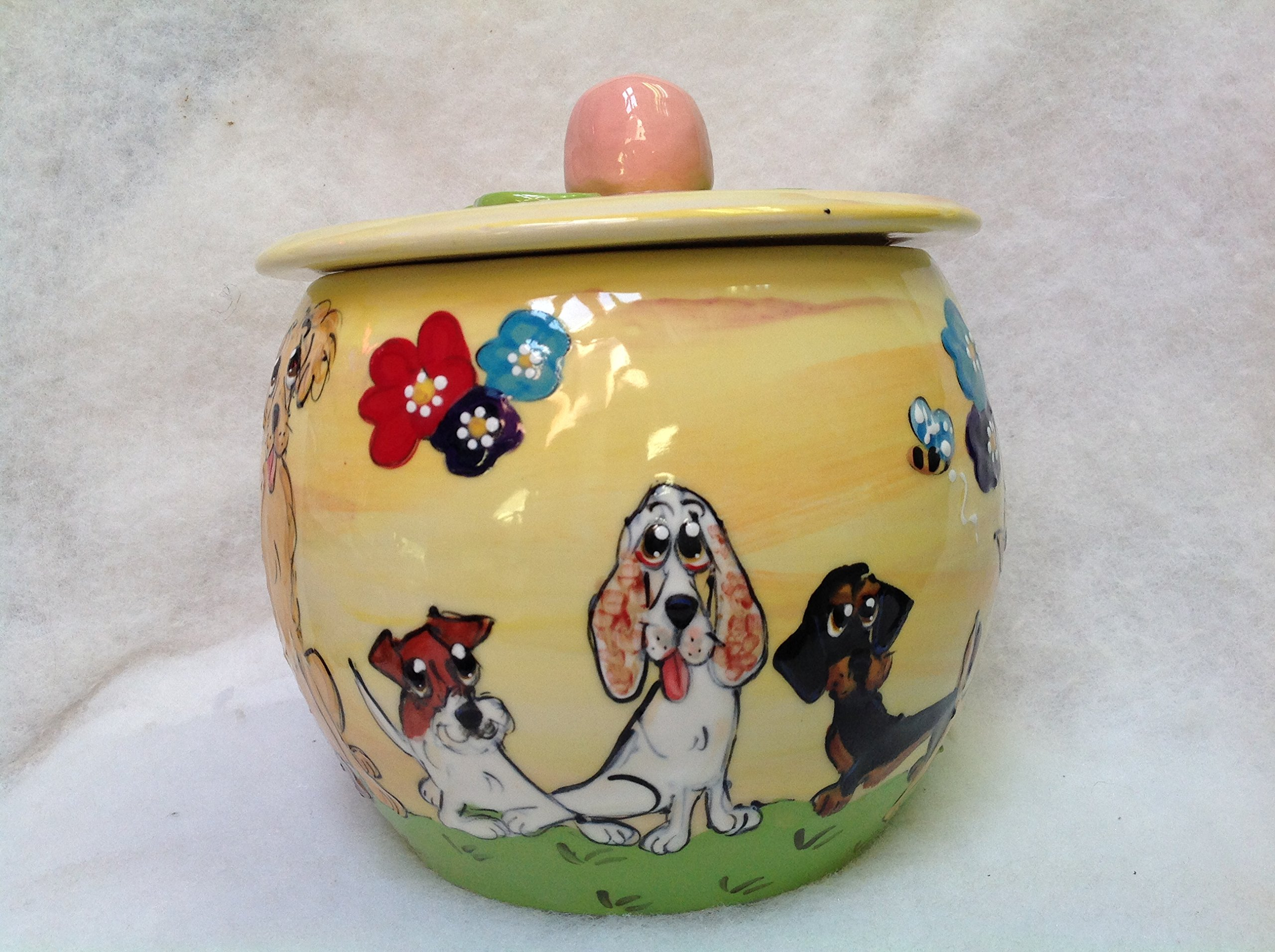 Springer Spaniel Treat Jar. Personalized at no Charge. Signed by Artist, Debby Carman.