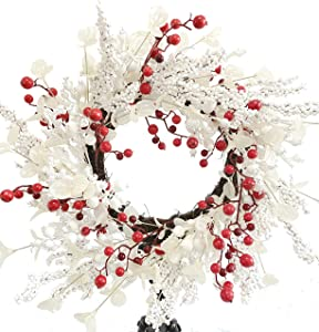 Huashen Christmas Wreath with White Berry and Mixed Poinsettia, Artificial Large Winter Wreath on Grapevine Door Wall Decor 24inch