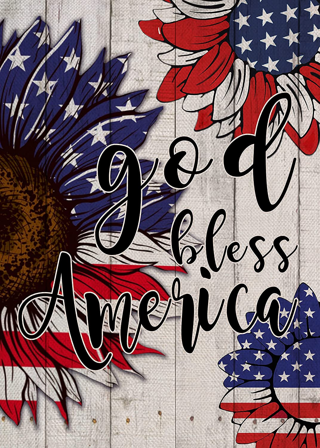 Covido Home Decorative God Bless America Garden Flag, American July 4th House Yard Summer Decor Sunflower Outside Decoration, Red Blue White Star Stripes Outdoor Small Burlap Flag Double Sided 12x18