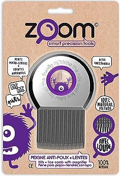 ZOOM Peine para Piojos - Elimina Liendres y Huevos - Cepillo de Metal con Lupa Amplificadora y Puntas Redondas - Productos Para El Cuidado Del Cuero Cabelludo - Liendrera Tratamiento No Químico: