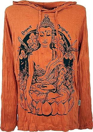 GURU-SHOP, Camisa Manga Larga Sure, Camisa con Capucha Meditación Buda, Naranja Oxidado, Algodón, Tamaño:L, Camisetas Seguras: Amazon.es: Ropa y accesorios