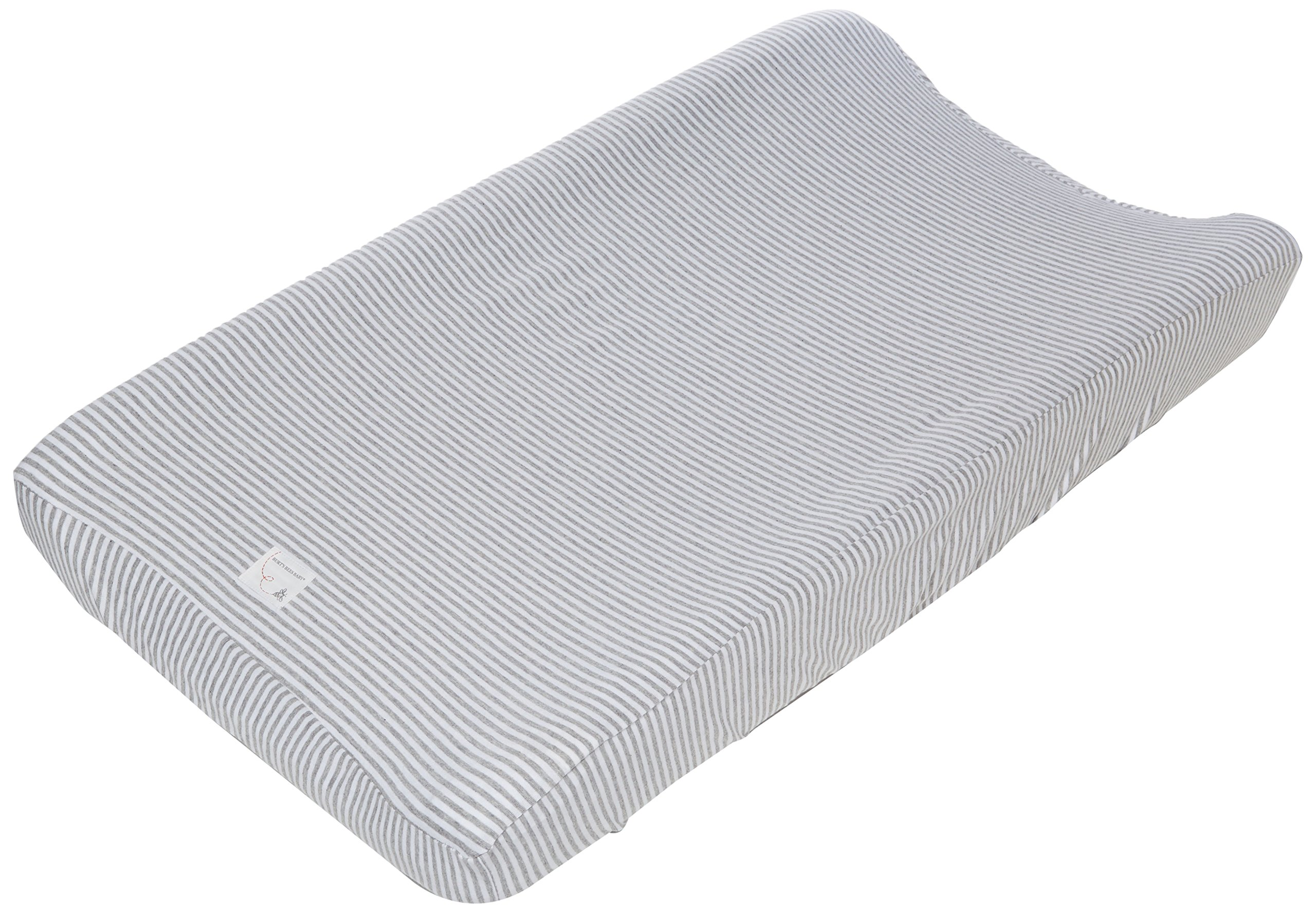 Burt's Bees Baby - Changing Pad Cover, 100% Organic Cotton Changing Pad Liner for Standard 16'' x 32'' Baby Changing Mats (Heather Grey Thin Stripes)