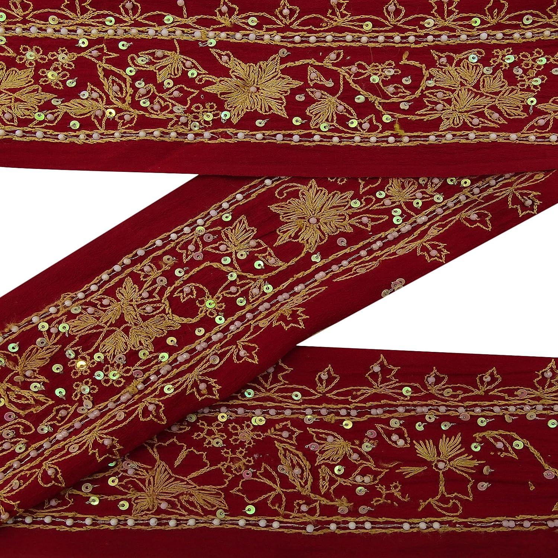 Cinta Ancha roja Mano con Cuentas de /época India Sari Borde de ordenaci/ón de Costura de Encaje 1YD