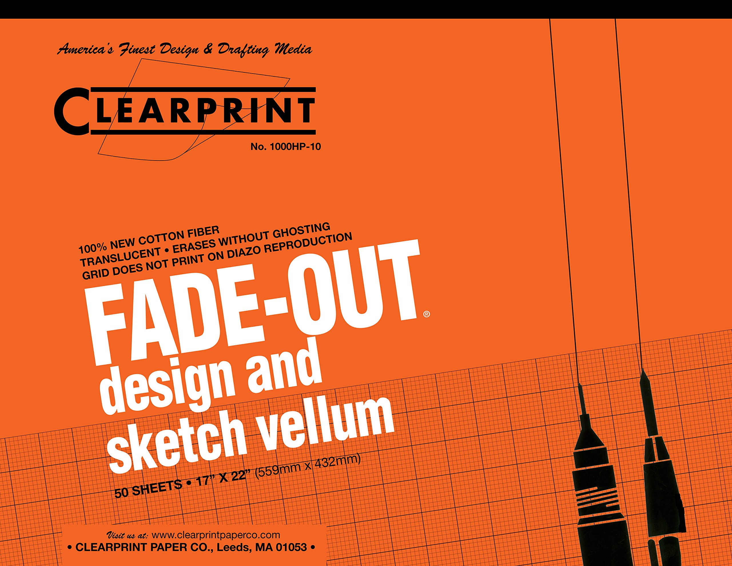 Clearprint 1000H Design Vellum Pad with Printed Fade-Out 10x10 Grid, 16 lb., 100% Cotton, 17 x 22 Inches, 50 Sheets, Translucent White (10003420)