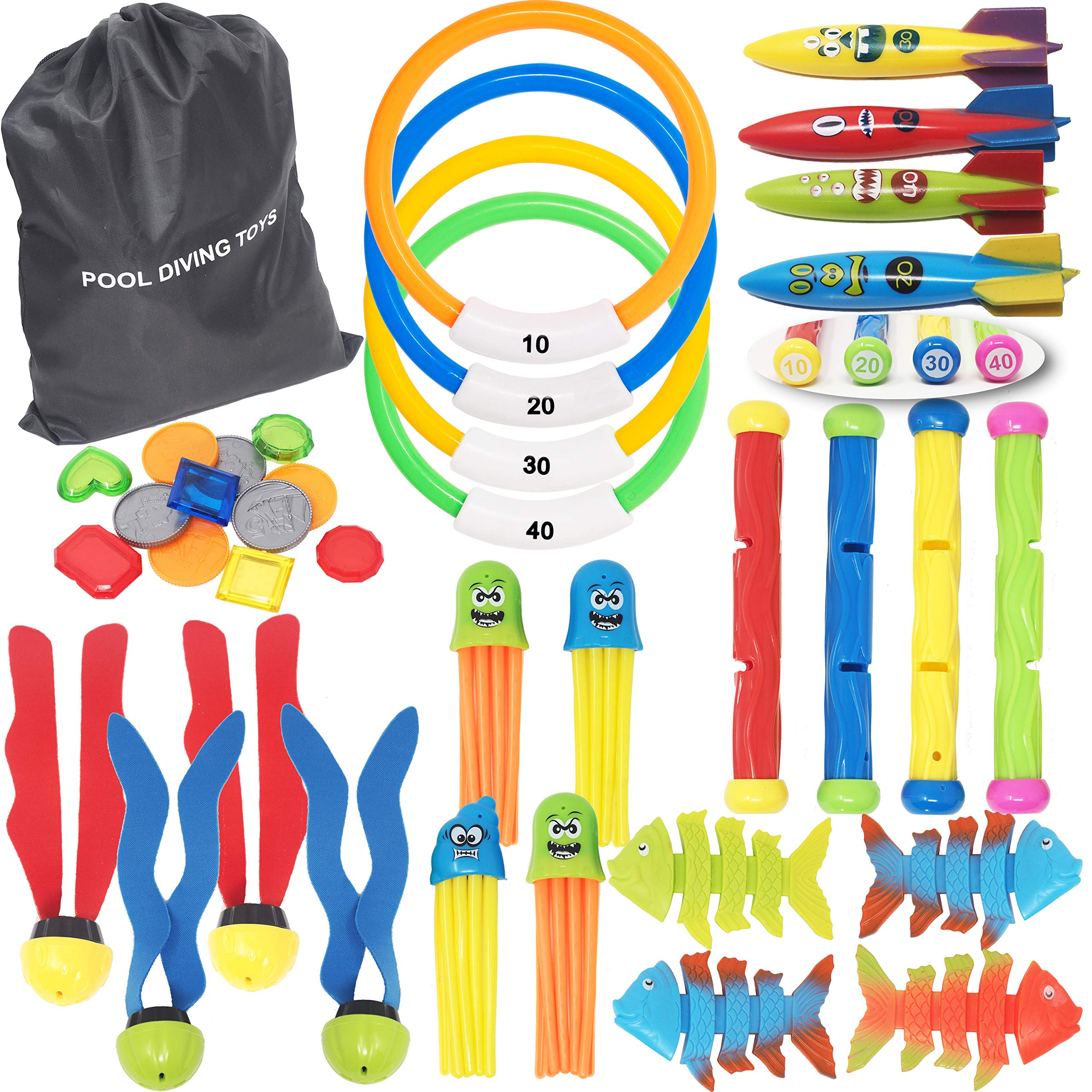 36 PCs Diving Pool Toys Deluxe Set w/ 4 Diving Sticks; 4 Diving Rings; 4 Toypedo Bandits; 12 Pirate Coins & Treasures; 4 Stringy Octopus; 4 Fish Toys; 4 Toy Balls for Kids Swimming Training Game by Kiddokids