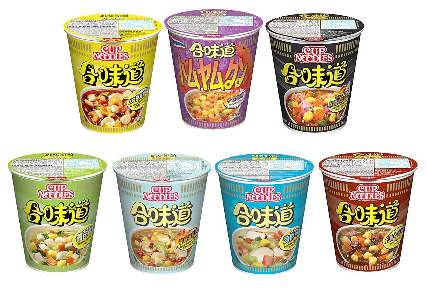 [Pack of 7] Cup Noodle 合味道 Variety Pack (Seafood, Beef, Chicken, Crab, Tom Yum, Spicy Seafood, Black Pepper Crab)
