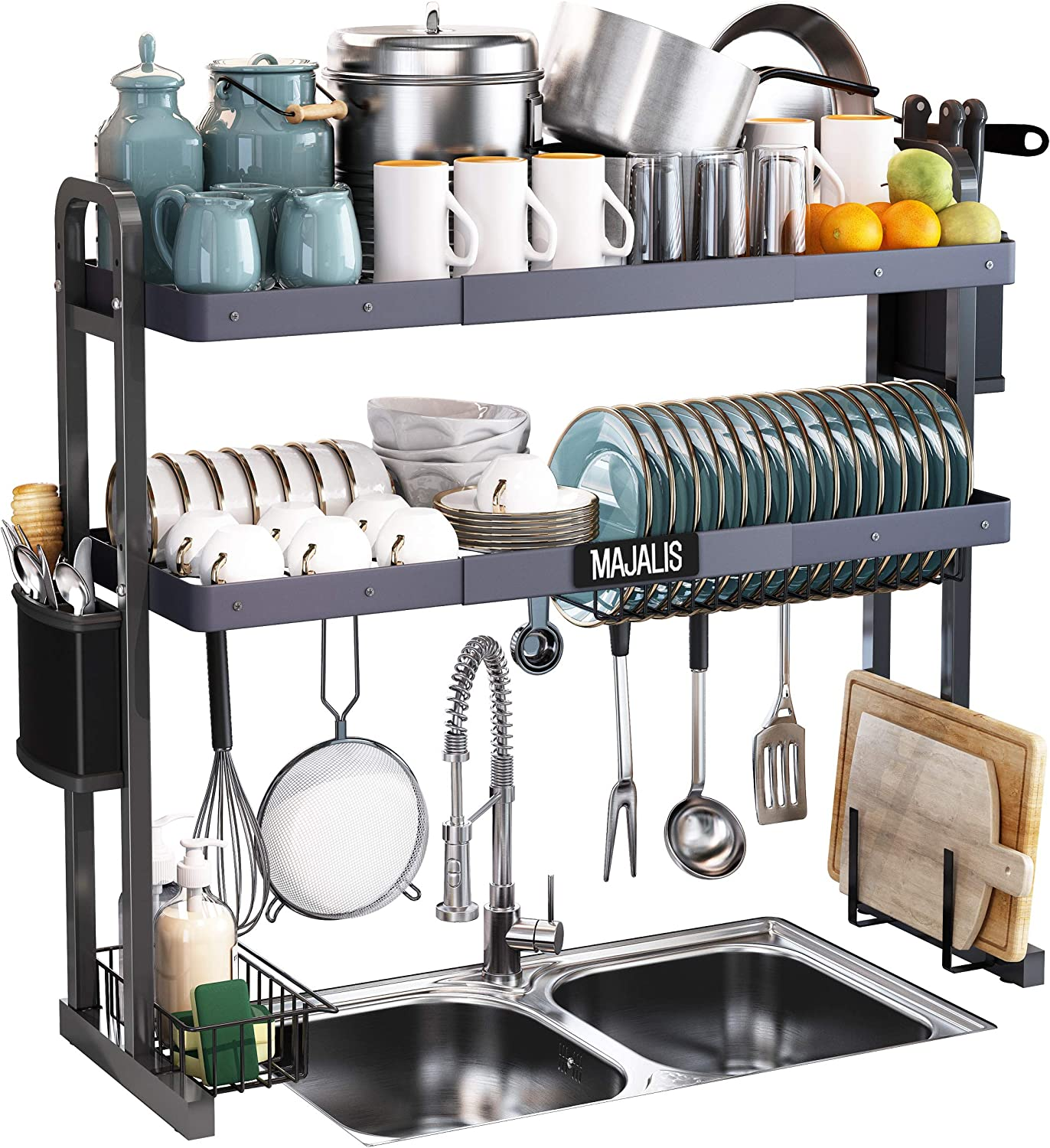 Amazon Com Over The Sink Dish Drying Rack Majalis Stainless Steel 2 Tier Large Dish Drainer Above Sink Adjustable 27 5 33 5 Expandable Kitchen Counter Organizer Storage Space Saver Shelf With 6 Hooks