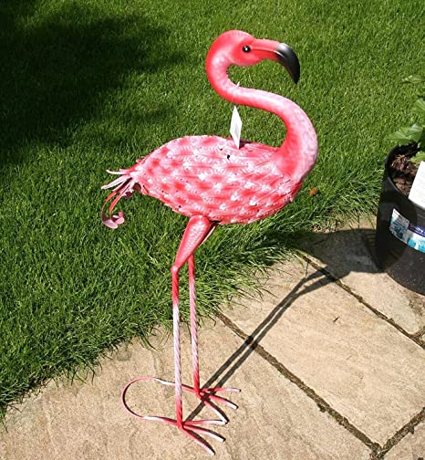 Rosa Flamingo – (90 cm alto) jardín Animal Escultura Figura decorativa de metal: Amazon.es: Hogar