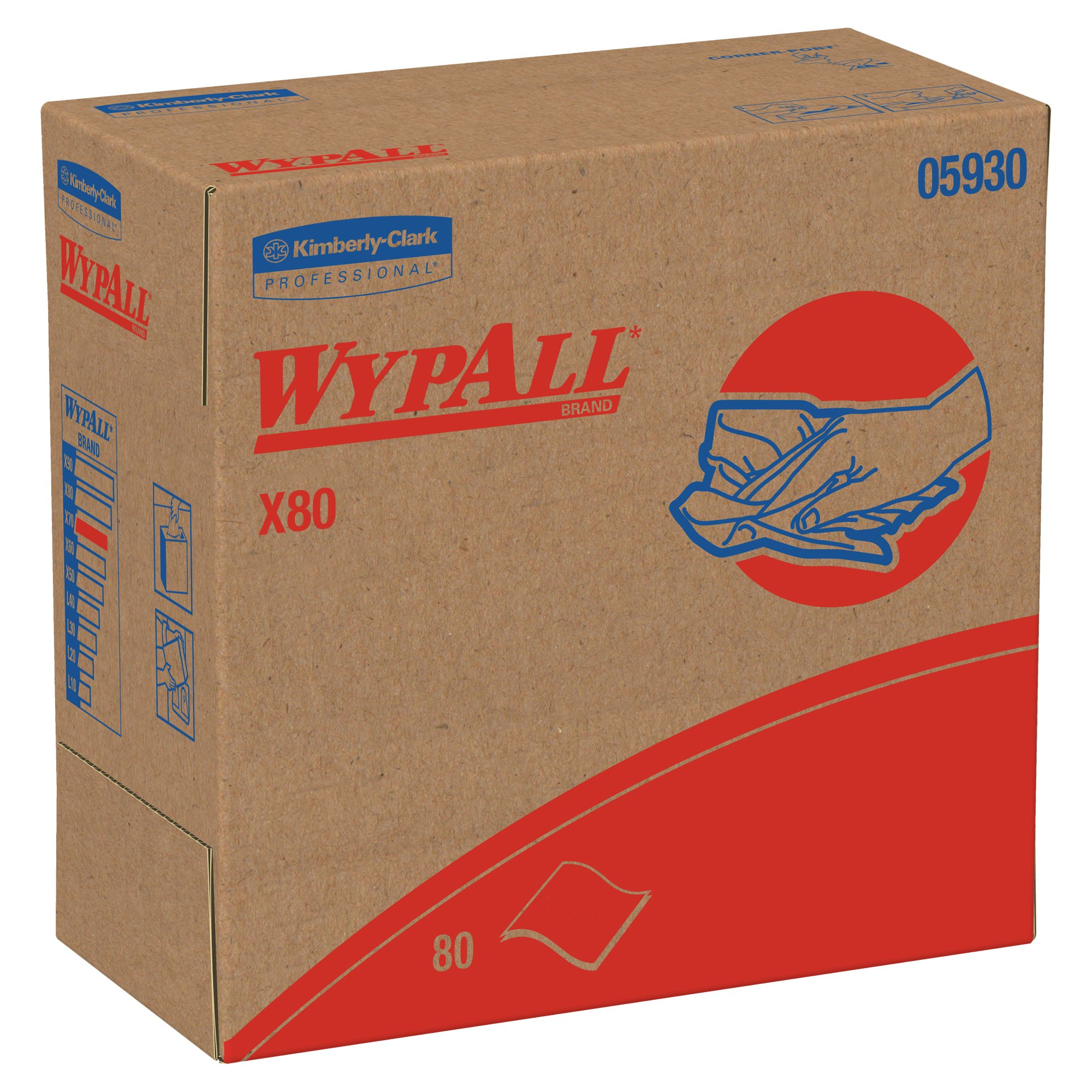 Wypall X80 Reusable Wipes (05930), Extended Use Cloths, Red, 80 Sheets / Pop-Up Box; 5 Boxes / Case by Wypall