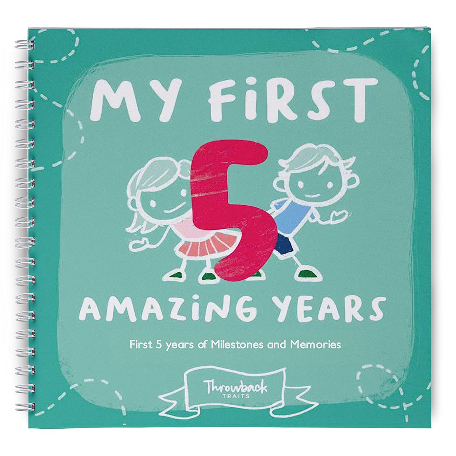 First Year Baby Memory Book, Easy to Use Keepsake Scrapbook, My First Year Adventures. Great Pregnancy or Baby Shower Gift with Space for Photo and Milestones Throwback Traits