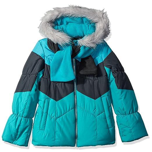 4266daff2 London Fog Girls' Big Color Blocked Puffer Jacket Coat with Scarf, Aqua  Brilliance 7