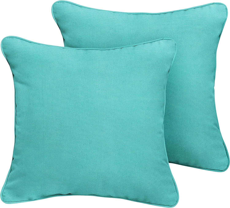 1101design Sunbrella Canvas Aruba Corded Decorative Indoor Outdoor Square Throw Pillows Perfect For Patio Décor Aruba Blue 16 Set Of 2 Garden Outdoor