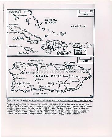 Amazon.com: 1962 Photo Map Puerto Rico Island US Mainland ...