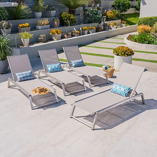 Santa Monica Outdoor Grey Mesh Chaise Lounge with Grey Finished Aluminum Frame Set of 4