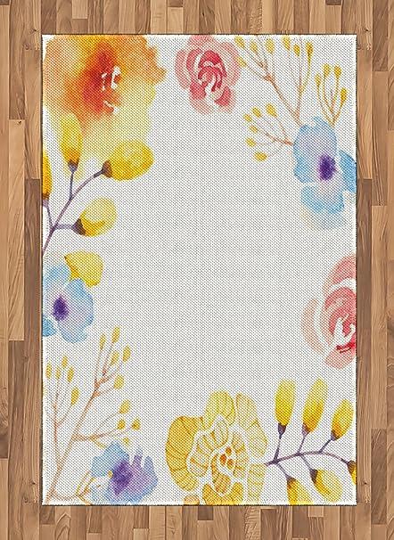 Amazon Com Lunarable Floral Area Rug Soft Pastel Color Brushstroke