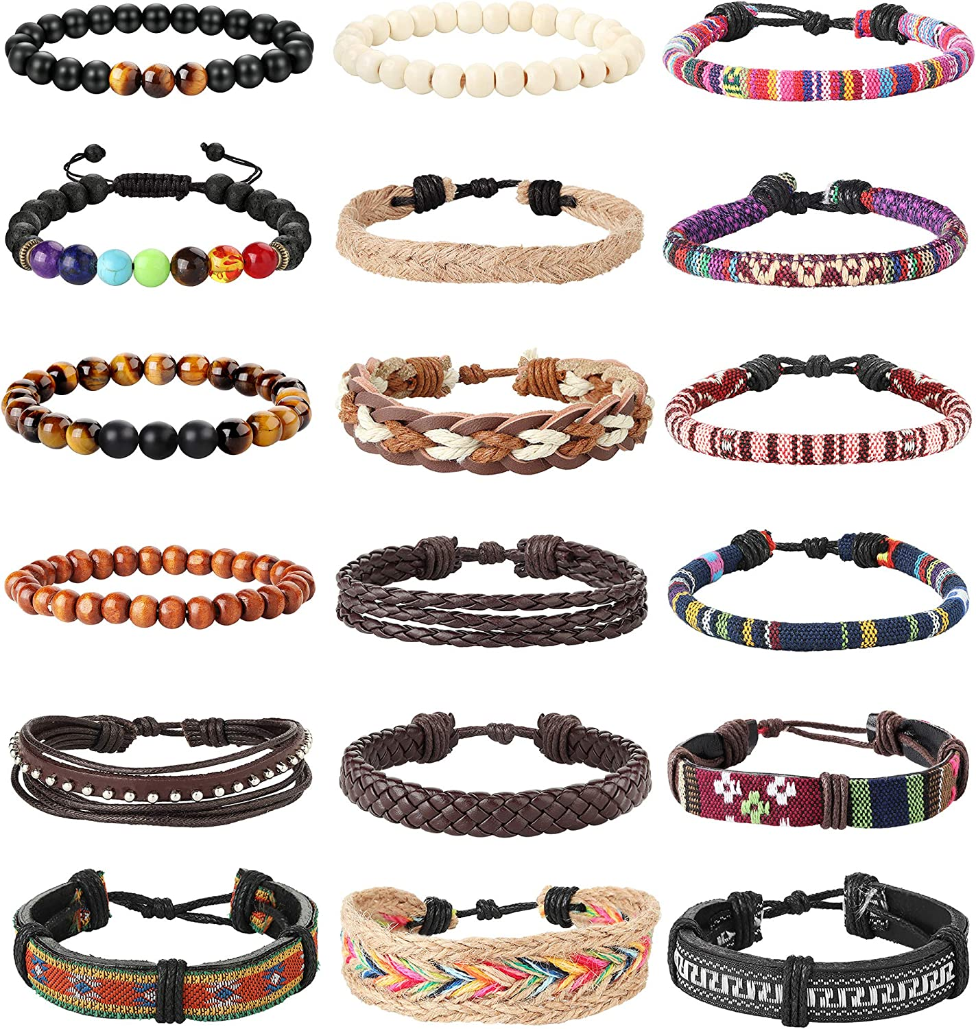 LOLIAS 18Pcs Leather Chakra Bead Tribal Bracelet for Men Women Charm Ethnic Wood Beaded Hemp Bracelets Boho Wristbands