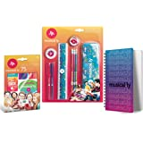 Musical.ly Stationery Combo-Pack • Pencils - Pens - Eraser - 75 stickers - Notebook - Metal Pencil Case - Ruler - Sharpener