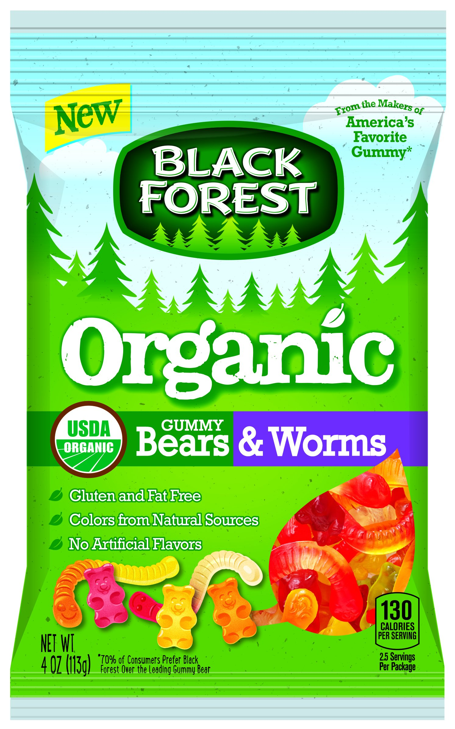 Black Forest Organic Gummy Bears & Worms Candy, 4 Ounce Bag, Pack of 12