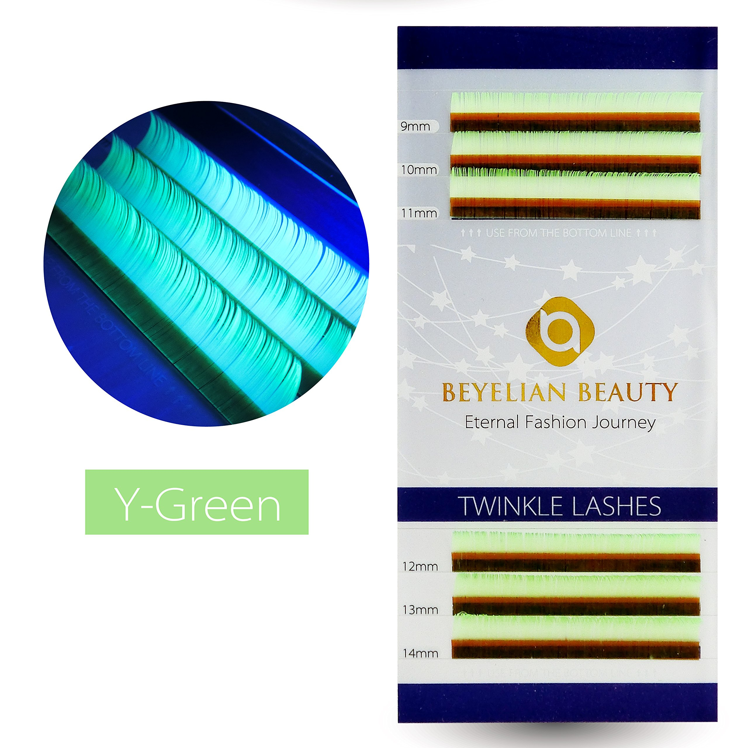 86b7b4dd02b BEYELIAN Twinkle Lashes 0.07mm Thickness Y-Green Color Mix Length Eyelash  Extensions Colored Lashes