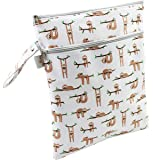 Sloth Wet/Dry Bag Large with Two Zippered Pockets for Cloth Diapers Baby Clothes Wet Swim Suits Soiled Baby Outfits or Gym Clothes