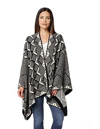 Invisible World Womens Knit 100 Alpaca Wool Poncho Ruana Wrap