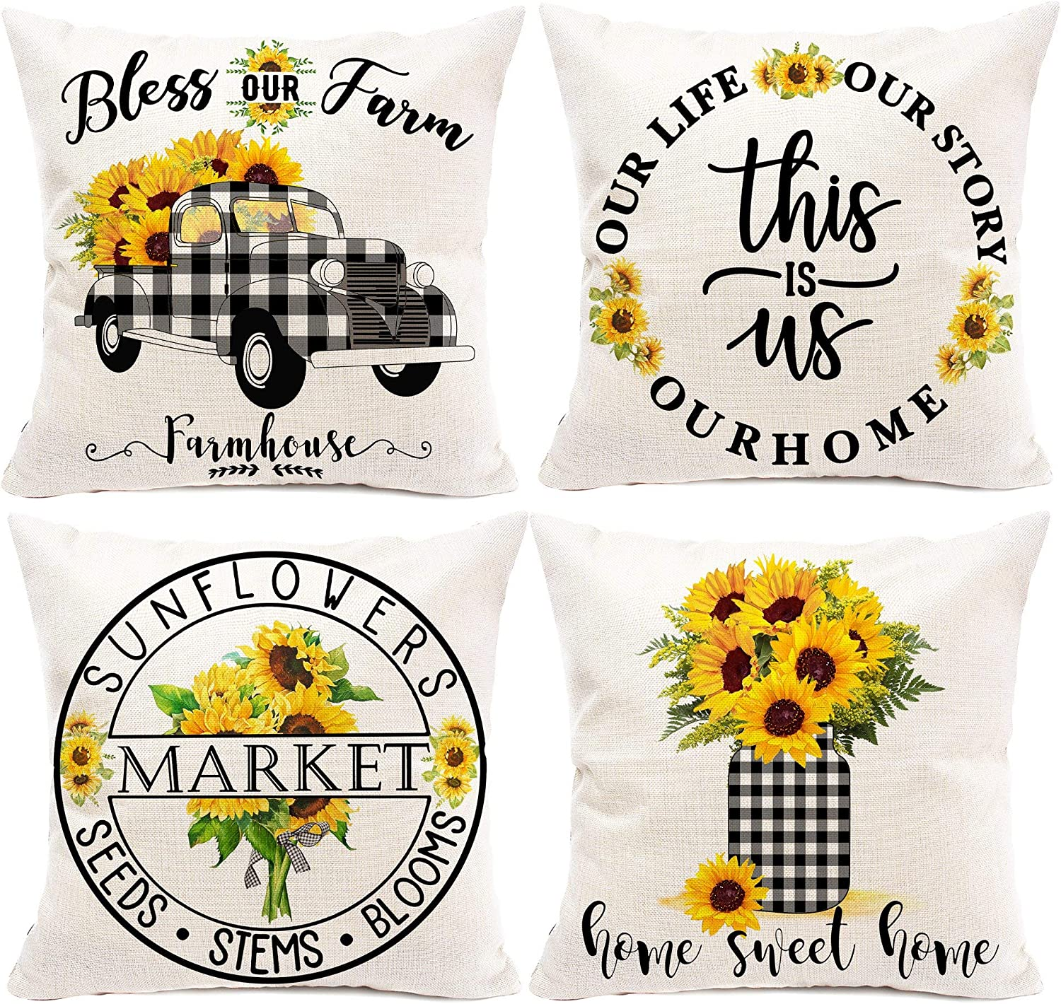 Hexagram Sunflower Farmhouse Summer Pillow Covers 18x18 Set of 4,Buffalo Plaid Spring and Summer Throw Pillows,Floral Truck Decorative Summer Outdoor Sunflower Home Decor for Couch Patio