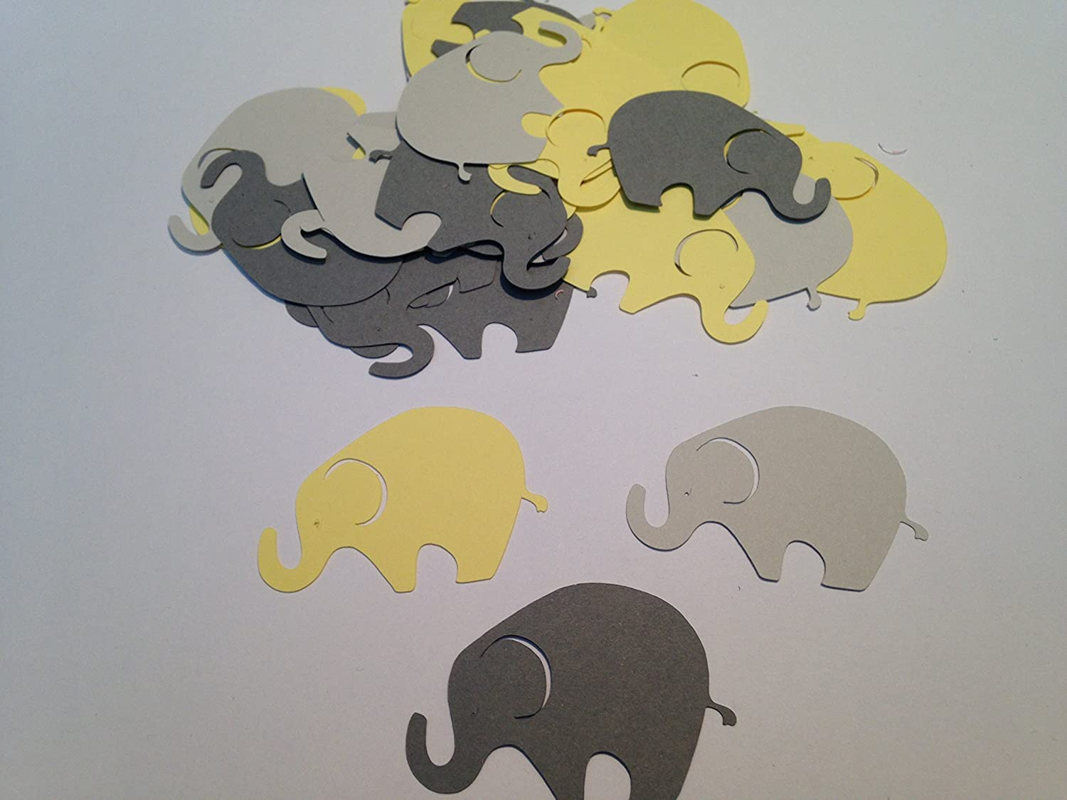 50 Large Yellow Gray Elephant Cutout 2 Inch Elephant Die Cut Embellishment Cupcake Topper Supplies