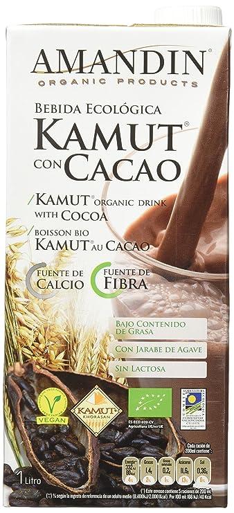 Amandin Bebida de Kamut con Cacao - Paquete de 6 x 1000 ml - Total ...
