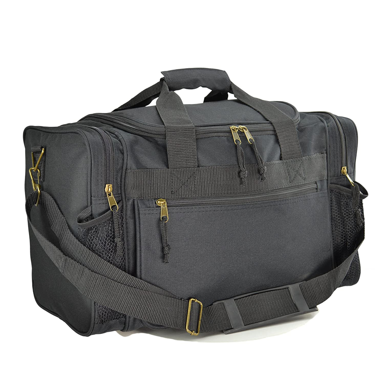 "DALIX 17"" Duffle Bag Dual Front Mesh Pockets (Black , Gold, Gray, Dark Green, Navy Blue, Maroon, Royal Blue, Orange, Pink, Purple, Red)"