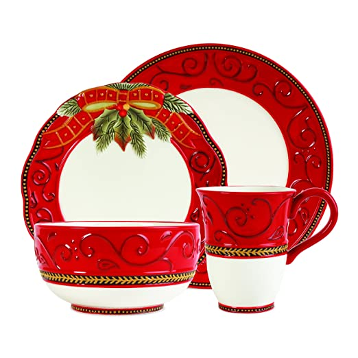 Christmas Tablescape Decor - Damask red & gold Christmas holiday collection 4-Pc earthenware dinnerware set - Service for 1 by Fitz and Floyd