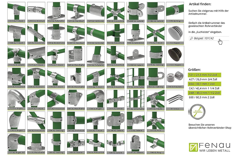 Schrauben inkl T-Verbinder//T-St/ück feuerverzinkt 90/° Fenau Rohrverbinder /Ø 48,3 mm offen Temperguss galvanisiert