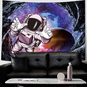 Homewelle Astronaut Tapestry Spaceman Hippie 51Hx59W Inch Space Cool Psychedelic Trippy Mens Fantasy Galaxy Bohemian Cave Planet Art Wall Hanging Bedroom Living Room Dorm Decor Fabric