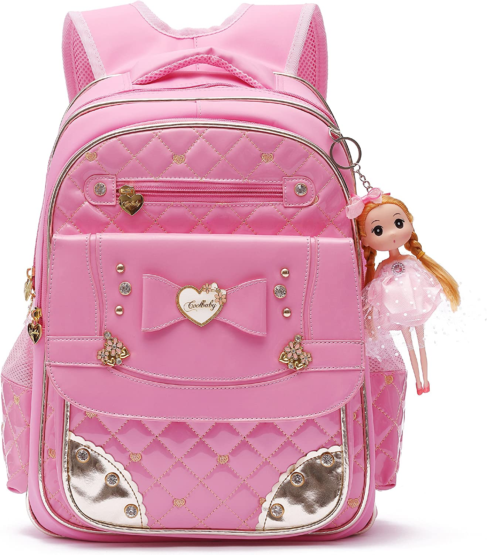 Mochilas Escolares Grandes,Mochilas para Niñas,Mochila Serie muñeca Adorable Princesa Escuela Mochila para la Escuela Primaria Chica (Rosa, S)