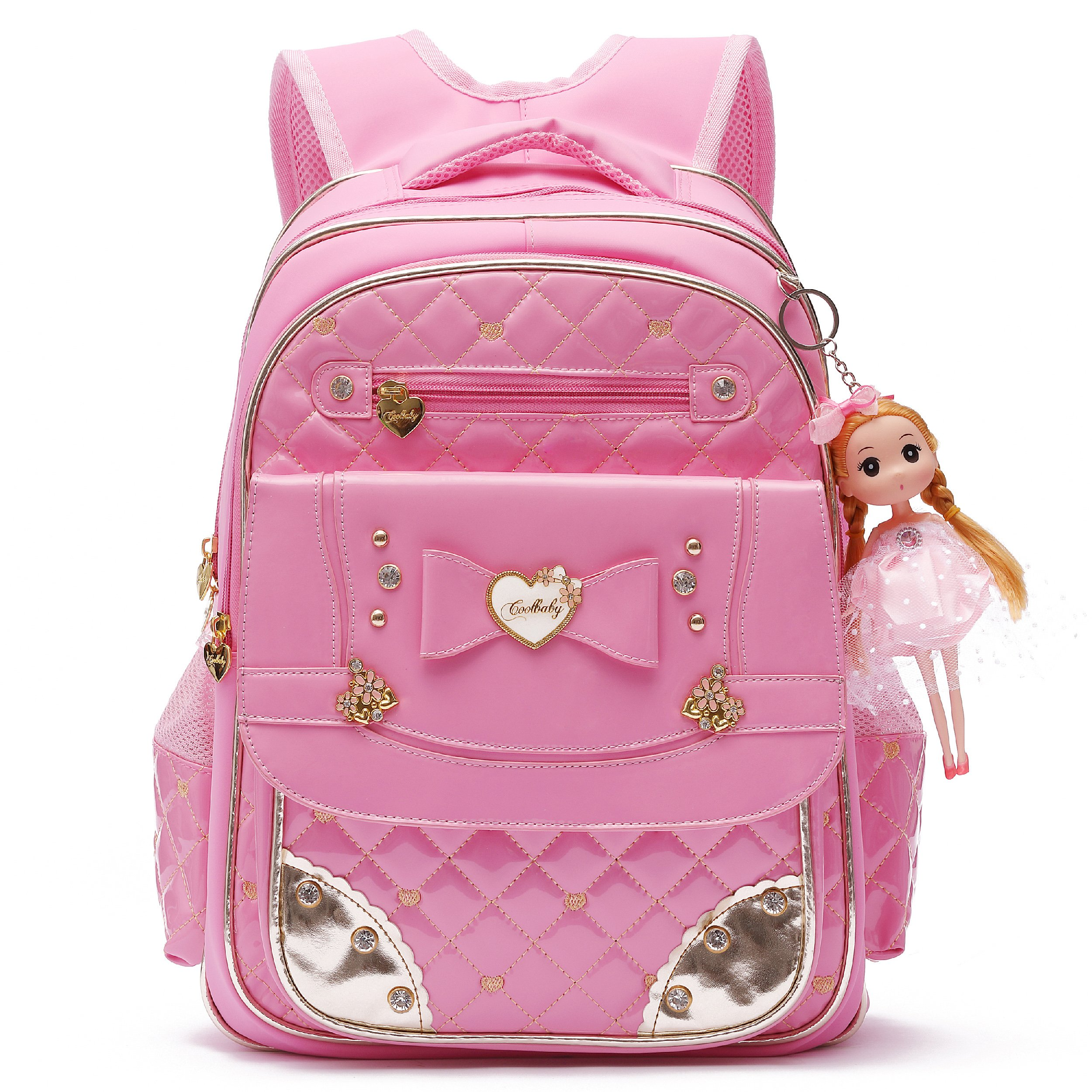 Ali Victory Waterproof PU Leather Kids Backpack Cute School Bookbag for Girls (Small, Pink)