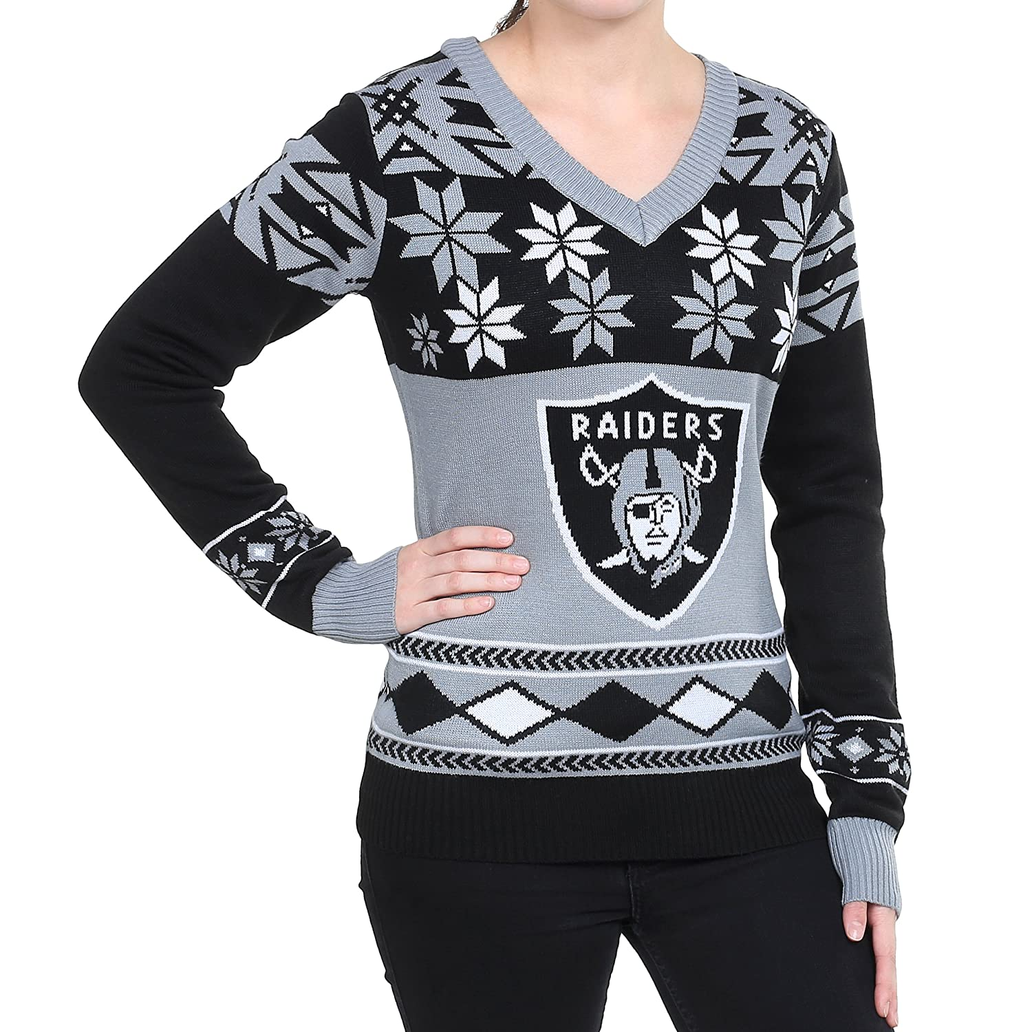 Amazon.com : NFL Women\'s V-Neck Sweater, Oakland Raiders, Medium ...