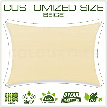 Customize 160 GSM 15/' FT Solid Straight Edge Hemmed Sun Shade Sail Canopy Cloth