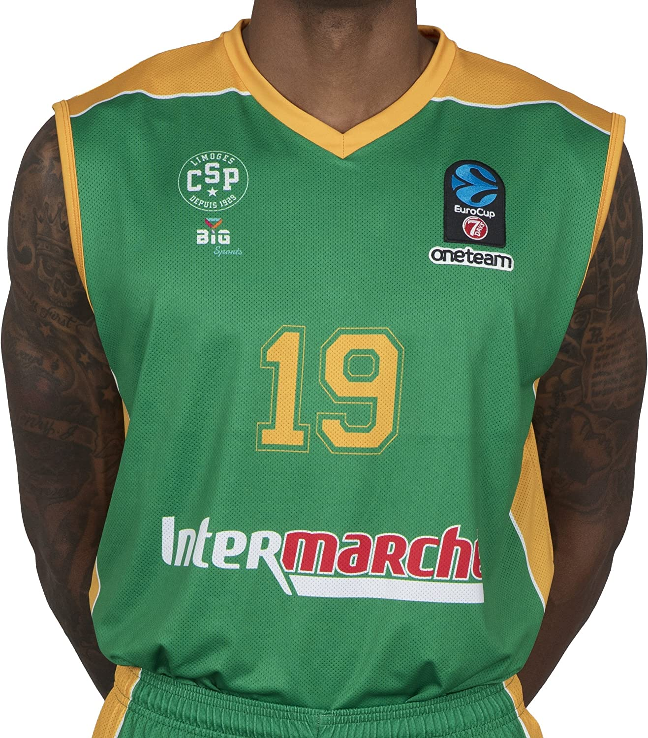 BIGSPORTS Replica Eurocup Limoges Csp Hayes 19 2017 2018 Maillot de Basketball Homme