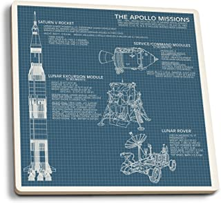 product image for Lantern Press Apollo Missions - Blueprint (Set of 4 Ceramic Coasters - Cork-Backed, Absorbent)