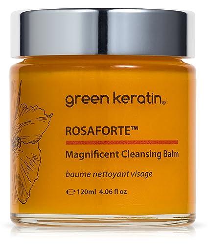 Green Keratin ROSAFORTE Magnífico Bálsamo Limpiador || Rosa, Rosa mosqueta y Vitamina E || Limpiador y Desmaquillante de rostro y ojos para la piel ...
