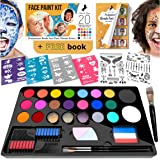 Face Paint Kit for Kids - 20 Water Based, Quick Dry, Non-Toxic Sensitive Skin Paints, 3 Glitters, 2 Temporary Hair…